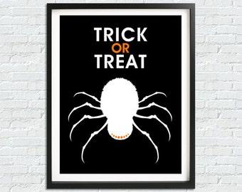Trick Or Treat Print, Halloween Print, Halloween Sign, Halloween Printable Decor, Printable Halloween Poster, Halloween Decoration, Poster
