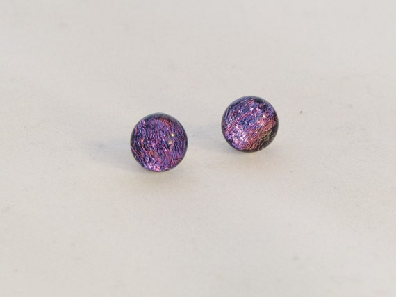 Pink dichroic stud earrings