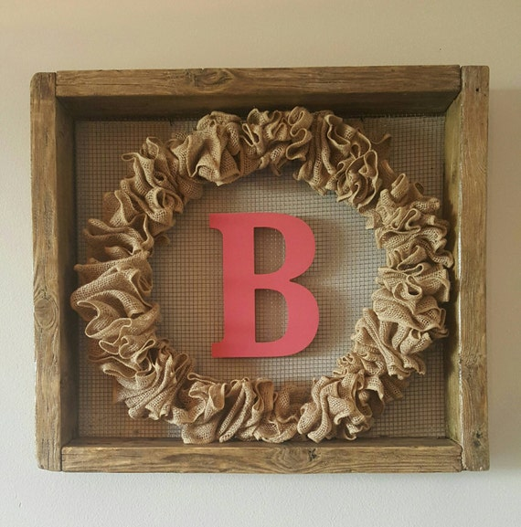 Country chic reclaimed rustic wood and wire frame with burlap wreath and monogram/centerpiece