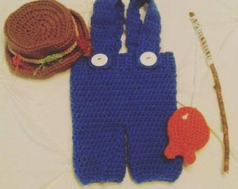 Crochet Fisherman Outfit/ Newborn Photography Prop