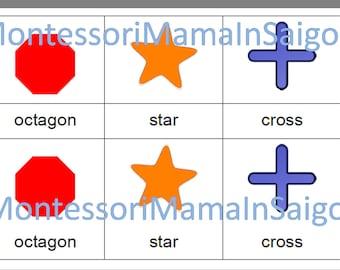 Shapes 2D Montessori three part vocabulary cards