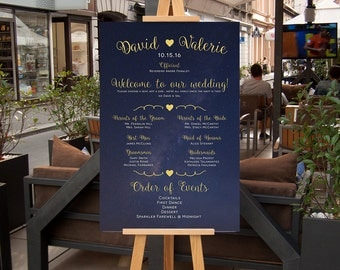 Bridal Party Poster, Choose a Seat Not a Side Sign,  Wedding Program Poster, Navy Blue and Gold starry night CUSTOM Printable