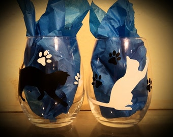 Cat Wine Glasses (Pair)