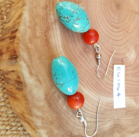 Turquoise Coral Earrings / Turquoise Stone / Coral Stone / Semi Precious Stones / Dangle Earrings / Hippie Earrings / Boho Jewelry /E61064