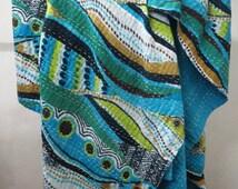 Handmade Vintage Cotton Reversible Sari Throw Bed Cover Vintage Kantha Quilts Blanket Bedding Sheet Bed Spread