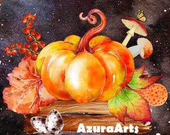 Watercolor Autumn Clipart,Halloween ClipArt,pumpkin, mushrooms,leaves,Boho ClipArt,Wedding invitation,Orange Watercolor elements,Digital PNG