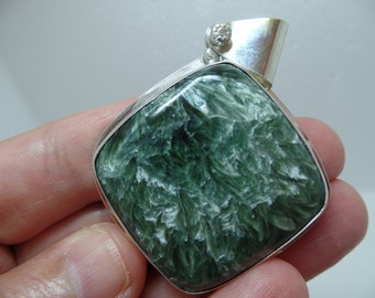 Seraphinite Pendant, Seraphinite Necklace, Sterling Silver Seraphinite, Green Gemstone, Ladies Seraphinite, 925,  Russian Seraphinite, 1028