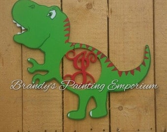 T-Rex monogram monogram dinosaur door decor door hanger nursery : dinosaur door - Pezcame.Com
