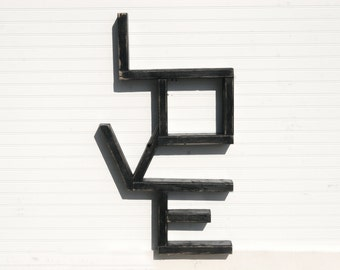 """Wooded """"LOVE"""" Shelf in Distressed Black for Wall or Floor"""