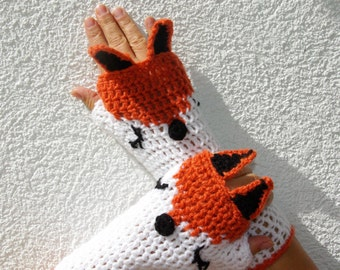 "50% OFF Crochet Gloves: ""ANIMAL GLOVES"" Fingerless Gloves White orange Fox Gloves Hand Warmers Hand Knit Foxes Mittens Winter accessory A21"