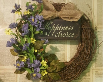 Happiness Is A Choice Grapevine Purple Yellow Door Wreath Wall Hanging