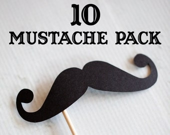 10 Mustaches on Sticks (Black) | Mustache on a Stick | Photobooth Props for Party, Wedding, Gender Reveal, Baby Shower, Special Event
