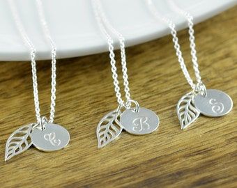 Silver Initial Necklace - Bridal Party Jewelry - Silver Leaf Necklace - Leaf Necklace Silver - Wedding Necklace Bridal Jewelry