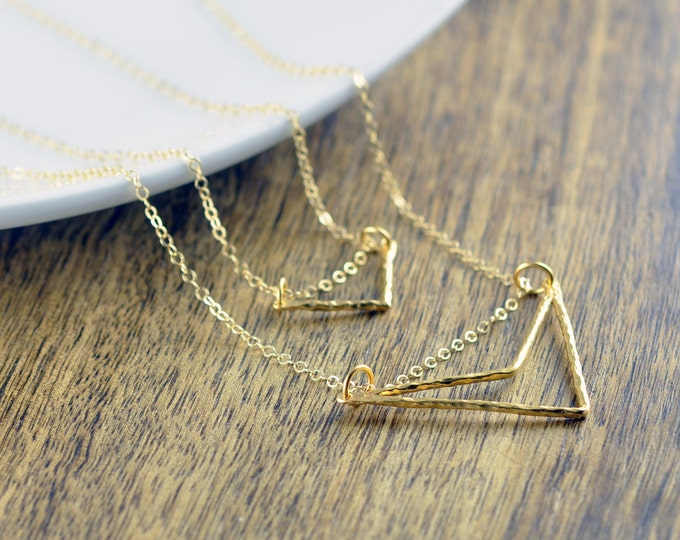 Gold Chevron Necklace - Gold Necklace - Geometric Necklace - Geometric Jewelry - Geometric Shapes - Layered Necklace Set, Layered Necklace