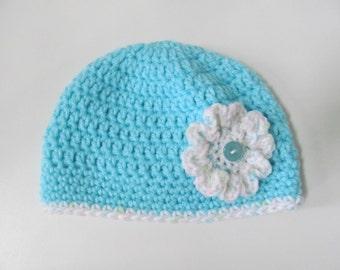 Crocheted Baby Girl Hat for Newborn