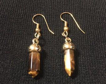 Brown Quartz Shaped Earrings