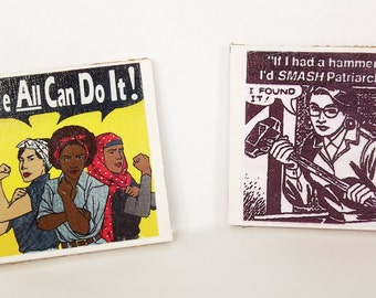 Feminist handmade tile coasters set of 2