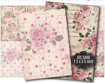 Shabby Chic Roses Backgrounds / ATC cards / collage sheet / vintage ephemera /scrapbook paper / christmas gift tags / cottage roses / AH