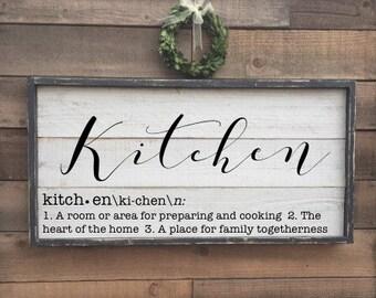 Charming Kitchen Sign, Kitchen Definition Sign, Vintage Wood Sign