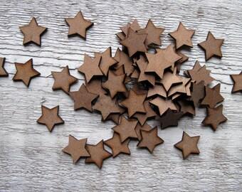 Stars x 50 Mini Wooden  Embellishment Craft Project Scrap Booking Card Making Shape Blank