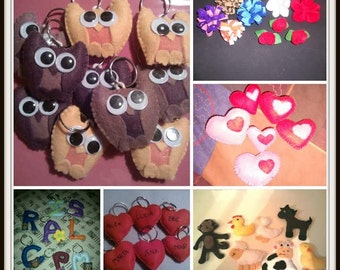 Key chains, magnets and felt brooches