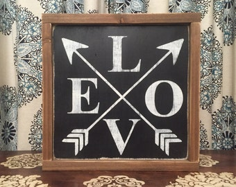 "13.5""x13.5"" LOVE/wood sign/word art/distressed sign/wall décor/rustic"