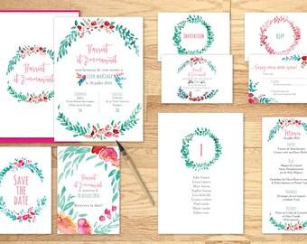 Pack imprimable faire-part mariage couronne de fleurs - Pack printable wedding invitation Crown flower Watercolor
