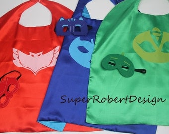 PJ Masks Costumes/Cape, mask, pj mask birthday,pj masks,pj mask masks, pj masks owlette,pj masks invitation,superhero cape/mask,Party favors