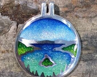 Emerald Bay Lake Tahoe Silver Enamel Pendant