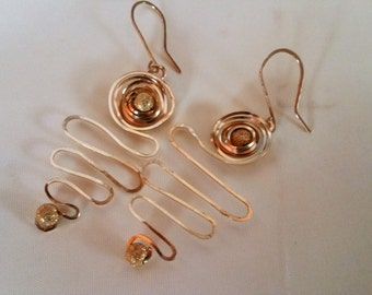 Gold Spiral and Bead Earring
