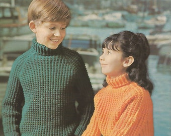 Polo Sweater for Boy or Girl Knitting Pattern Vintage Instant PDF Download Age 6 to 10 years