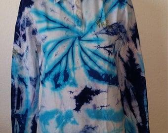 Mens Retro Batik Shirt Blue & White Unikat  133654