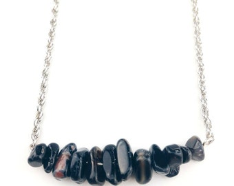 "Necklace ""Astala"", natural Agate stones black"