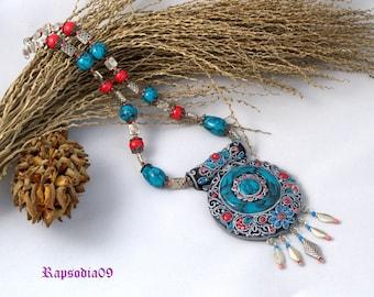 Necklace Tibetan necklace Jewelry ethnic pendant Tibetant jewelry Polymer clay pendant Asian necklace
