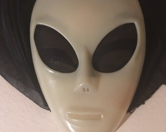 White Face Mask for Halloween with Silk Hood