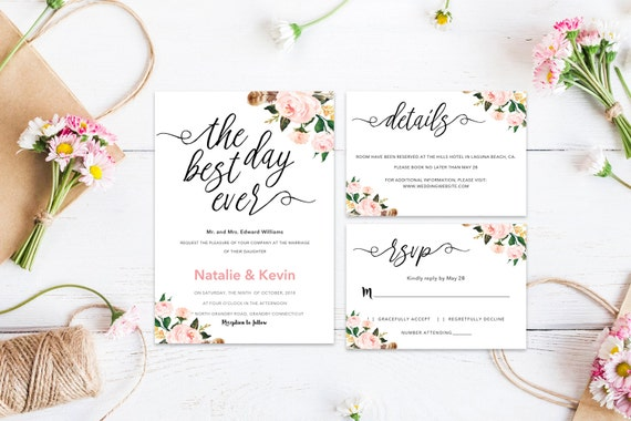 Floral wedding rsvp word_4,,INSTANT DOWNLOAD, Editable Wedding template invitation. Microsoft Word template.Wedding Printable