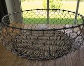 Vintage Kitchen Wire and Wicker Egg Basket 1970 Era