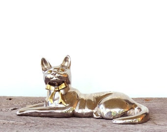 brass and silver cat statue . shiny chrome cat figure . mixed metal cat . reclining cat figure, vintage home decor