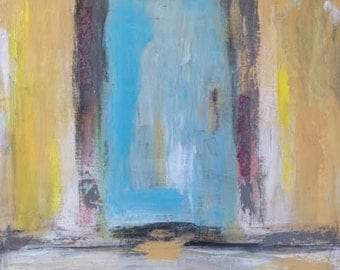Original Abstract Art Mixed Media Collage/Painting - Door in Rome