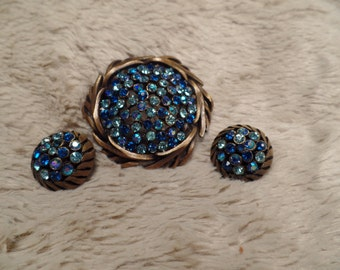 1950's Set with Shades of Blue Rhinestones Signed Karu Arke NY
