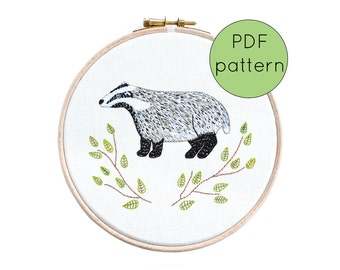Badger Hand Embroidery Pattern Instant Download