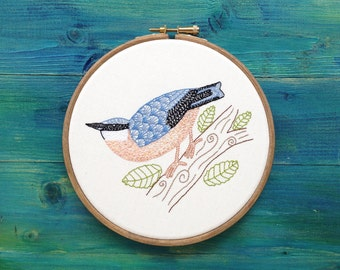 Handmade Nuthatch Bird Embroidery, Framed in a Hoop