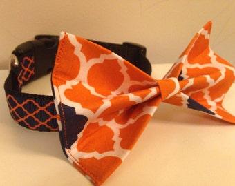 Blue and Orange Quatrefoil Trellis Design Dog Bow Tie in Small, Medium or Large Auburn Florida Colors