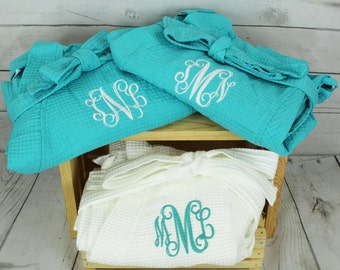 Personalized Bridesmaid Robe Set of 5 ,Monogrammed Robe, Waffle Robe, Personalized Bridesmaid Gifts