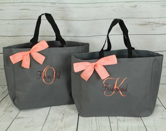 3 Personalized Bridesmaid Gift Tote Bag Personalized Tote, Bridesmaids Gift, Monogrammed Tote