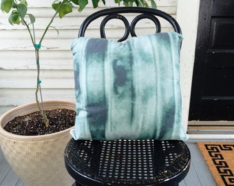 "Green Blue Dyed Throw Pillow, 18"" with Insert"