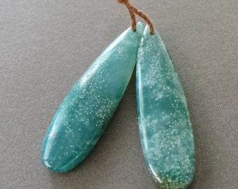 Polished Green Mountain Jade Tear Drop Focal Pendants Pair