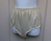 Vintage Beige Panties Nylon Brief Panty - High Waist Full Cut Front Back Granny Sissy Lingerie // Sz 44 9 xL - xxL