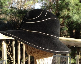 Vintage Black Sculpted Rabbit Hair Hat Garfinckels