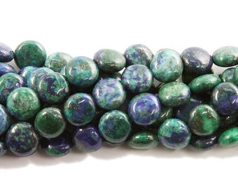 Azurite Puffed Coin Gemstone Beads